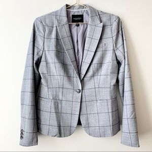 Banana Republic Gray Plaid Wool Boy Blazer